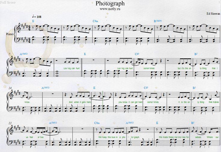 Ed Sheeran — Photograph Piano Sheets — Free Piano Sheets