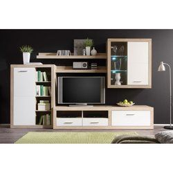 """Elegant, innovative and contemporary Cancan 1 TV 114.2"""" Entertainment Center is great for arranging both large and small living rooms. The set includes floating LED cabinet and shelving, spacious TV stand and standing cabinet. Fronts are finished in high gloss white, body is finished in natural sonoma oak. Cancan lightens and brightens your room, making the room feel larger and giving you the best conditions to relax. Surfaces are resilient and easy to clean. Hanging hardware is included..."""