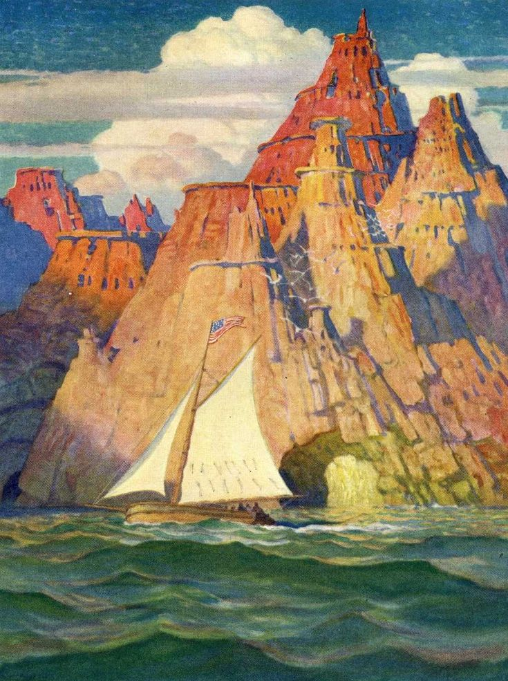 'Mysterious Island' Artwork by N.C. Wyeth