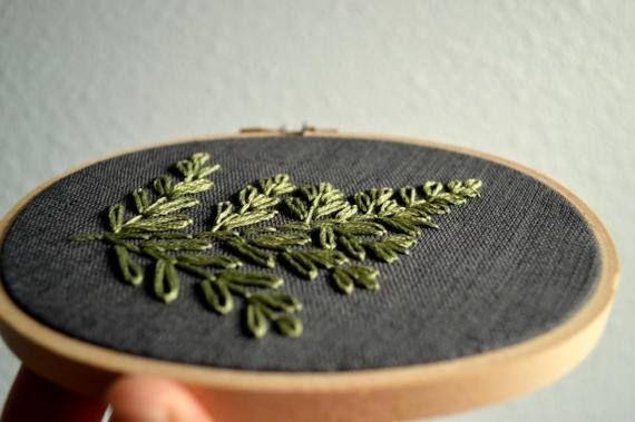 Fern Embroidery Hoop Art Botanical Wall Art Plant Wall