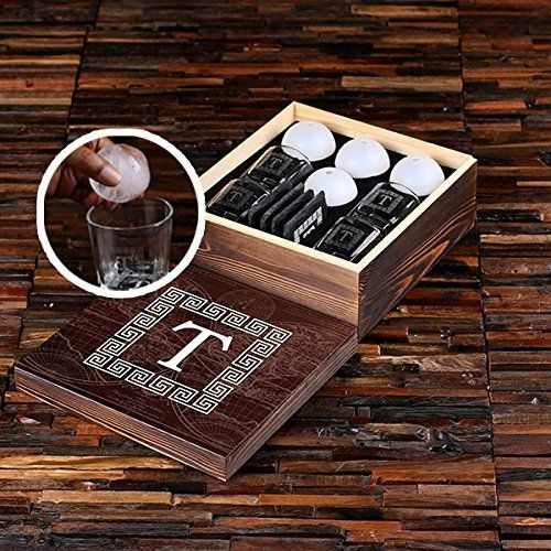 Personalized 4pc Whisky Glasses, Slate Coasters and Ice Ball Makers in Printed Wooden Gift Box - Great Gift for Men, Groomsmen, Father's Day