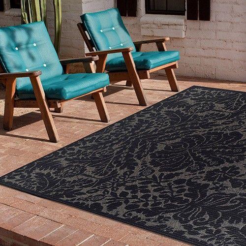 Bondi Outdoor Rug Collection - Damask - Black - 220 x 150cm