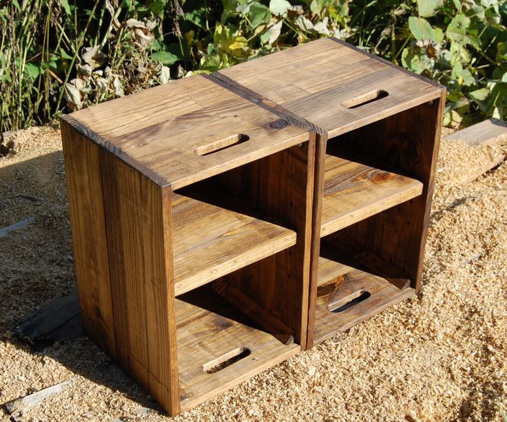 Wooden Crates/ Nightstand/ Pair of Side Tables/ Reclaim Wood by LooneyBinTradingCo on Etsy https://www.etsy.com/listing/203963064/wooden-crates-nightstand-pair-of-side