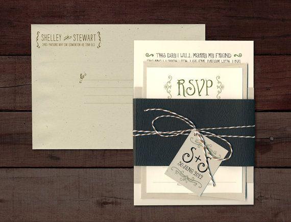 Rustic Wedding Invitation Whimsical Wedding by pinkpolkadesign, $6.00