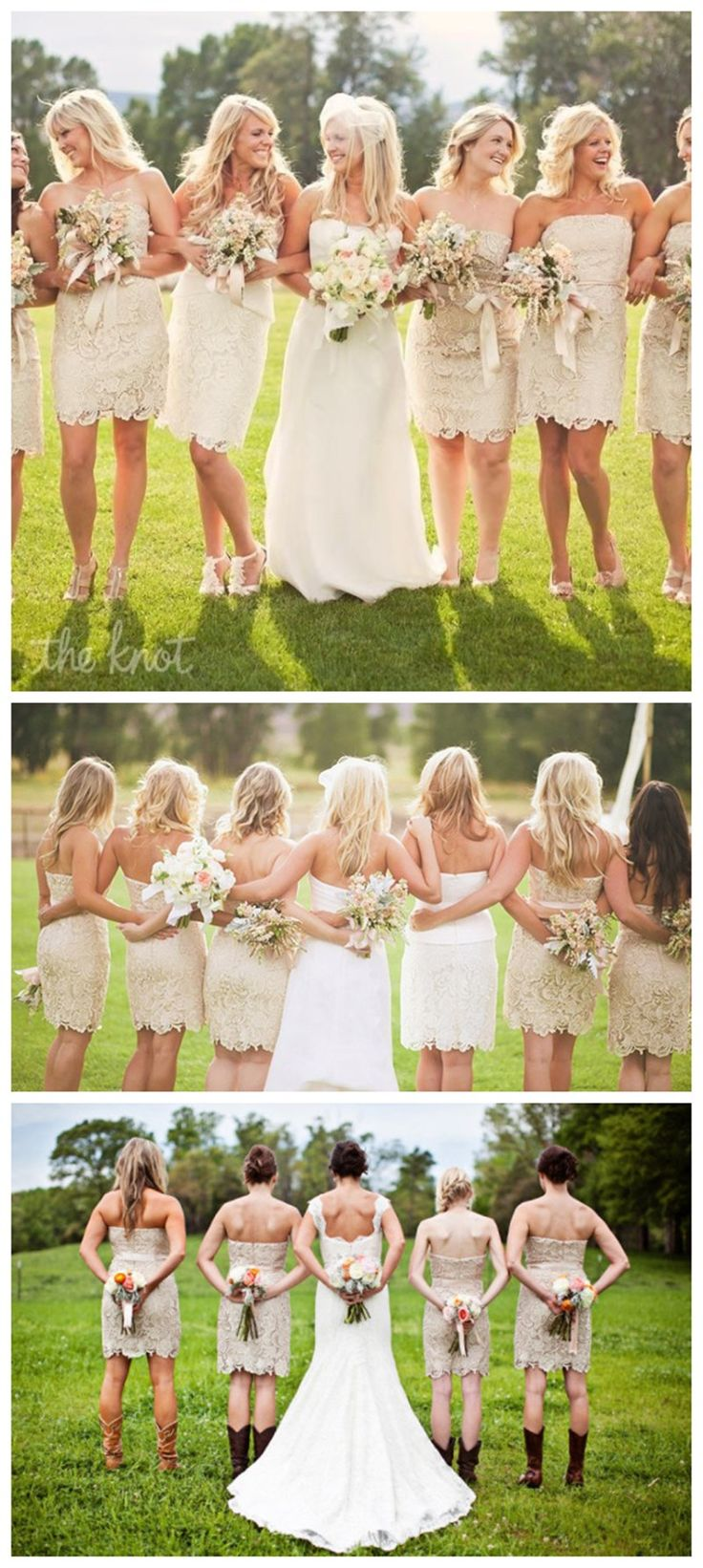 champagne lace short strapless bridesmaid dresses