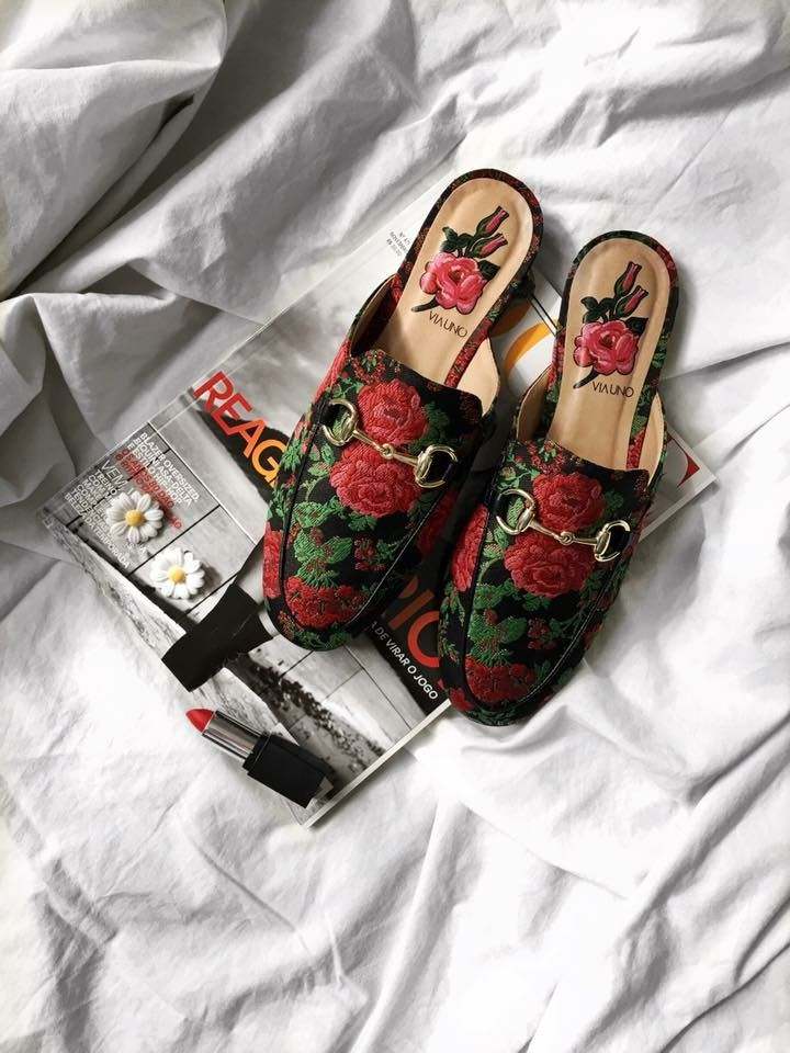 Mule, shoes, floral, primaveraverão, flatlay, shoes, sapatos