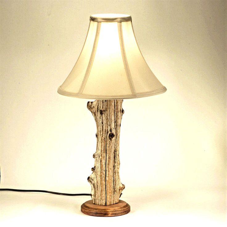 Rustic Cedar Wood Log Lamp Cabin Lodge Furniture Log Table Lamp #Handmade #Lodge