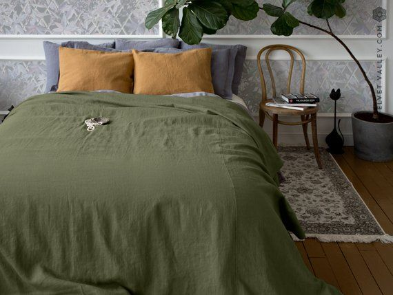 New Olive Green Linen Bedspread Moss Green King Queen Size Bed