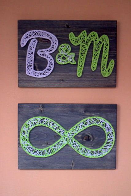 Hey, I found this really awesome Etsy listing at https://www.etsy.com/listing/175262720/string-art-initials-and-infinity - could easily make this myself.