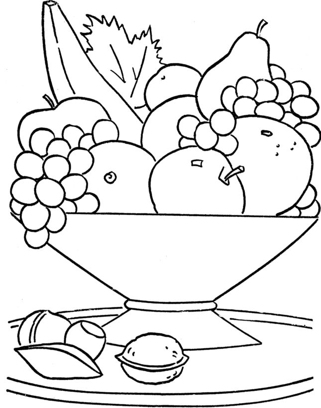 Fresh Fruit In The Basket Coloring For Kids