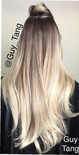 Dark brown to light blonde cool colors.  #ombre