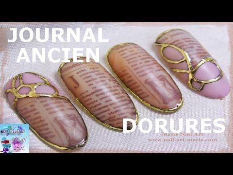 [TUTO] Nail Art Effet Journal Ancien ( repro Norkanaildesign) - YouTube