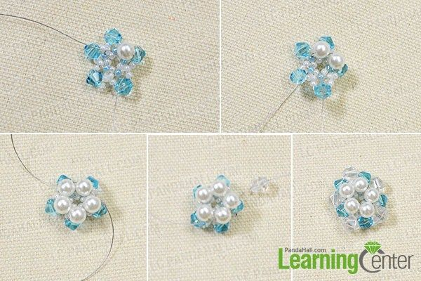 add pearl beads and white faceted glass beads