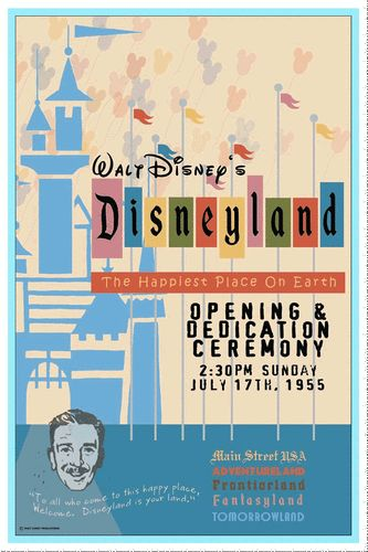 Vintage Disney Collector's Poster 12x18 Disneyland Opening Ceremony 1955 | eBay