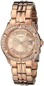 GUESS Women's U11069L1 Sporty Chic Rose Gold-Tone Mid-Size W   watches.reviewatoz.com