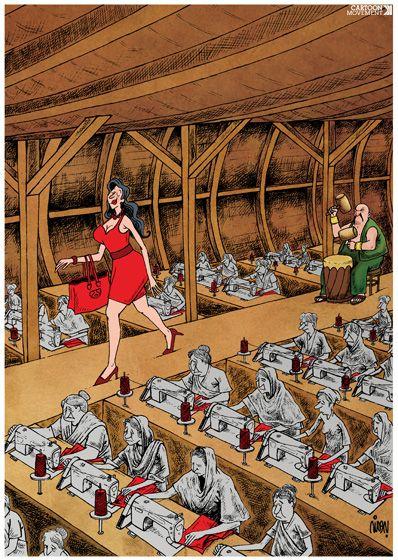 Fashion & slavery. Today's cartoon by Payam Boromand: http://www.cartoonmovement.com/cartoon/30160