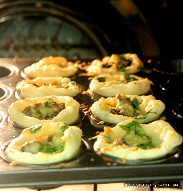 Delicious caramalized mushrooms, capsicum and parmesan cheese Tartlets