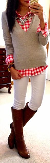 Gingham, layers, and riding boots. Super cute...just don't know about white in winter...