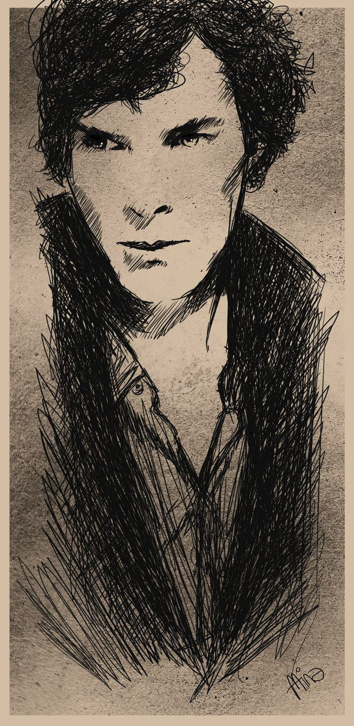 """the art of deduction"" - line art - drawing - sketch - sherlock fan art https://www.facebook.com/romina.lutz.grafik"