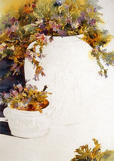 Rose Edin's Watercolor Demo of Dramatic Flowers and Pottery, Masking in Layers