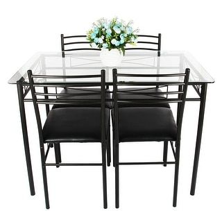 VECELO Glass Dining Table Set with 4 Nice Chairs Brown - 19786175 - Overstock - Great Deals on Dining Tables - Mobile