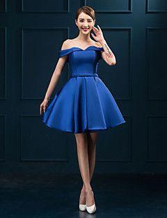 Cocktail Party Dress - Royal Blue Plus Sizes Ball Gown Off-the-shoulder Short/Mini Lace