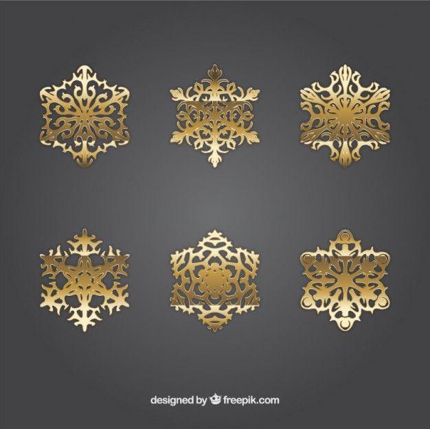 Free vector Golden snowflakes #33603