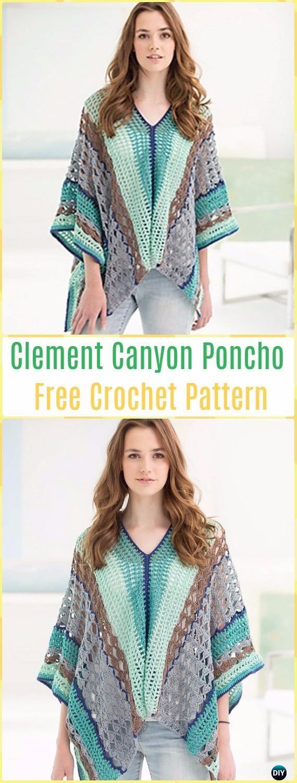 Crochet Clement Canyon Poncho Free Pattern - Crochet Women Capes & Poncho Patterns
