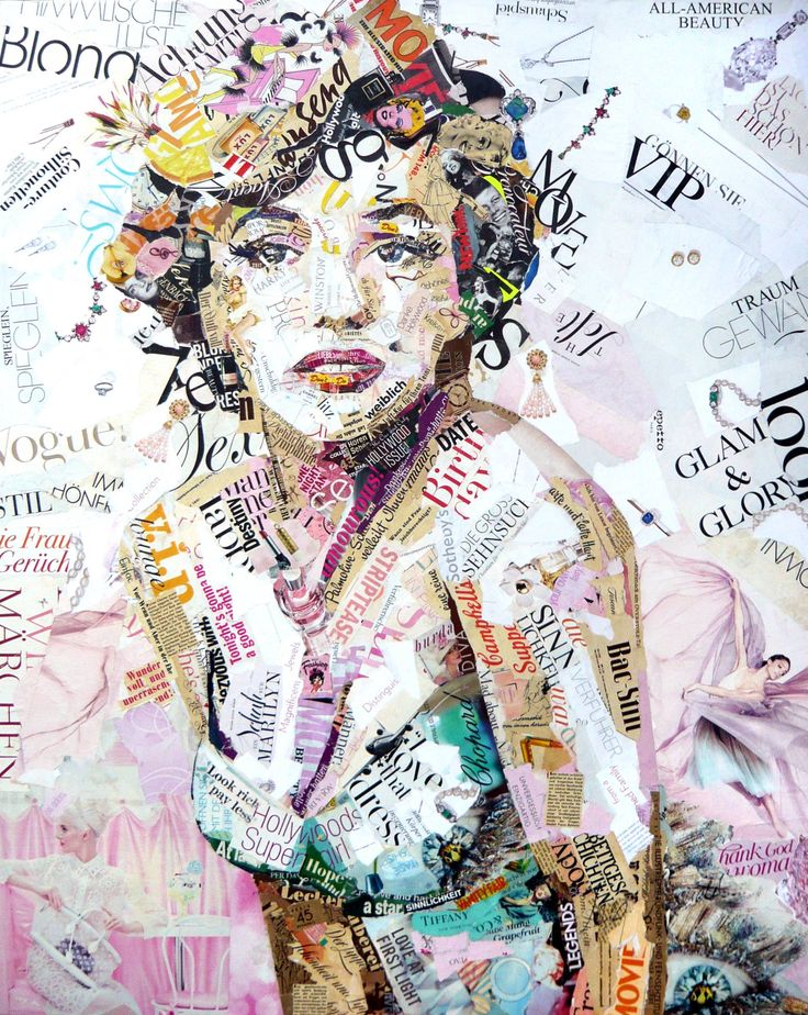 Buy Glam & Glory, a Paper on Canvas by Ines Kouidis from Germany. It portrays: Celebrity, relevant to: beauty, pink, blond, white, woman, Marilyn Monroe, collage, movie collage of Marilyn Monroe made of original magazines size 80 x 100 cm