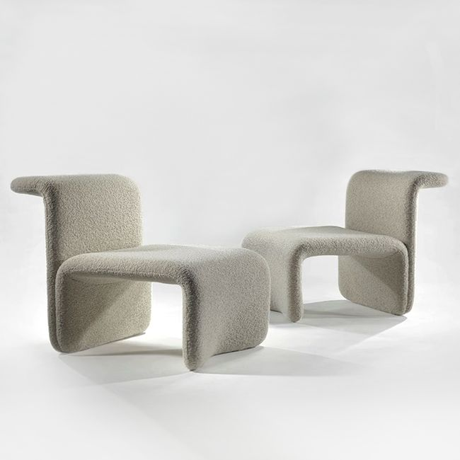 MICHEL BOYER Pair of Chairs, c. 1968 Foam, fabric 28.35 x 26.38 x 33.46inches 72 x 67 x 85cm 28.35 H x 26.38 L x 33.46 D inches 72 H x 67 L x 85 D cm