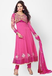 Inddus Pink Embroidered Dress Material Online Shopping Store