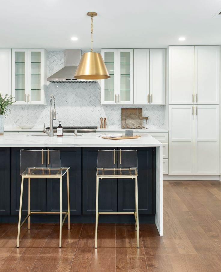 white shaker cabinets, navy shaker cabinets, california contemporary, white marble, q… in 2020