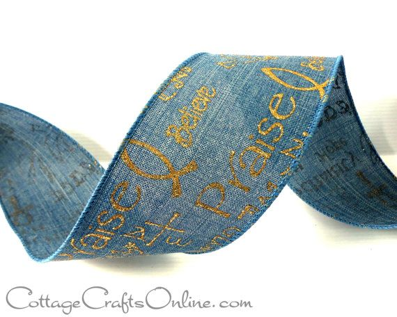 Wired Ribbon 2 1/2 Blue Linen Style Gold by CottageCraftsOnline