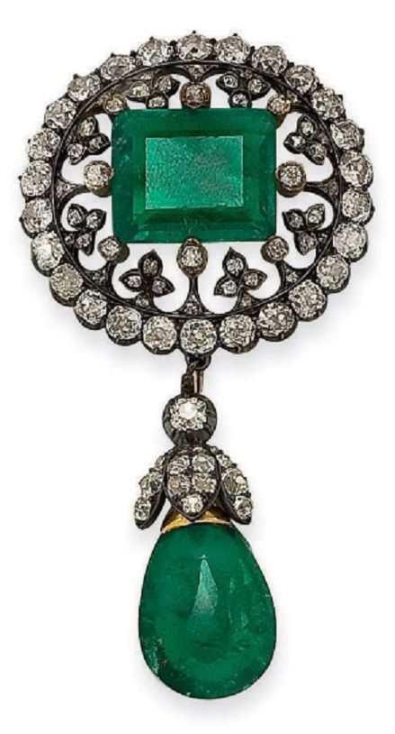 An antique silver, gold, emerald and diamond brooch, circa 1880. Accompanied by a case signed J. Chaumet and stamped with a ducal crown. #antique #brooch