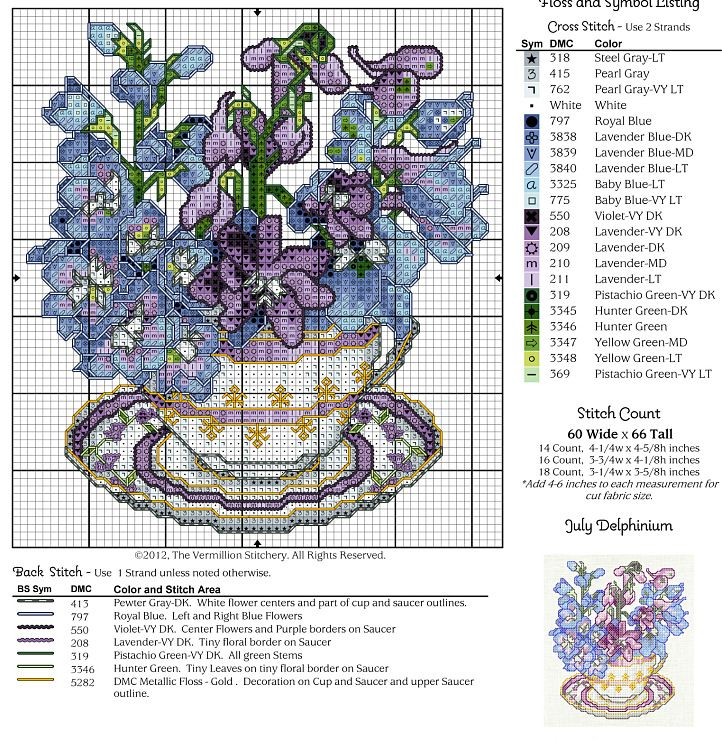 Cross-stitch A Year of Floral Teacups, part 7 -  July Delphinium...    Gallery.ru / Photo # 12 - 12 in cups - irisha-ira