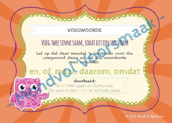 Digitale plakkate oor Voegwoorde, beskikbaar op http://teachingresources.co.za/vendors/mondvol-afrikaans/