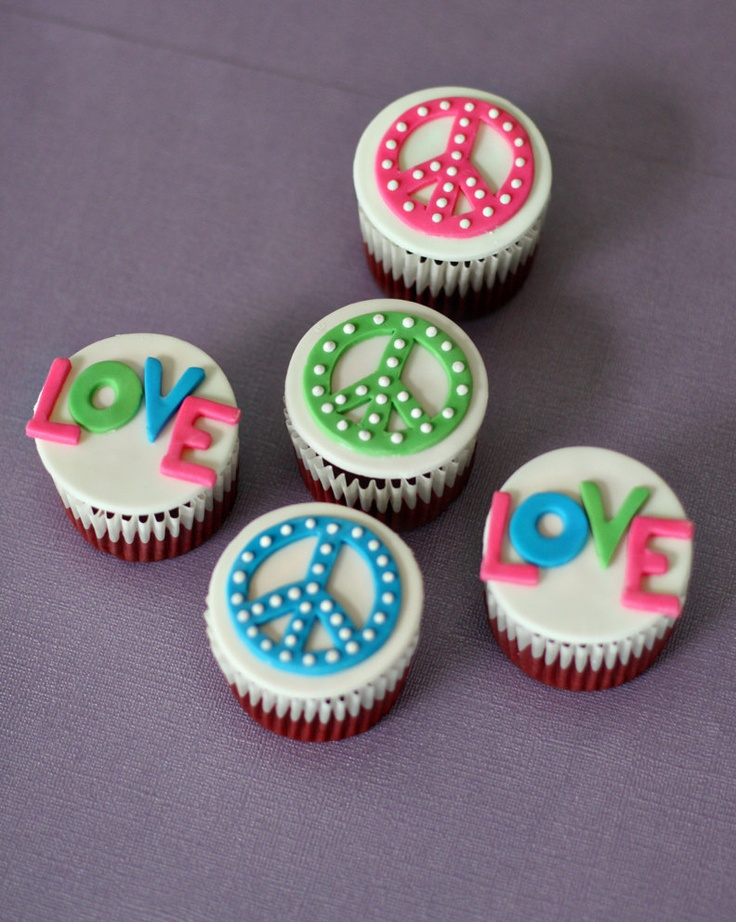 Peace Sign and Love Fondant Toppers for Decorating Groovy Cupcakes, Cookies or other Treats. $20.00, via Etsy.