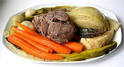 """Pot-au-feu (French pronunciation: [pɔ.to.fø] """"pot on the fire"""") is a French beef stew. According to chef Raymond Blanc, pot-au feu is """"the quintessence of French family cuisine, it is the most celebrated dish in France. It honours the tables of the rich and poor alike."""""""
