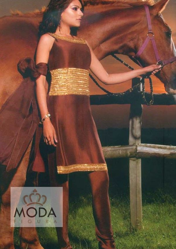 Horse brown churidar salwar suit for college