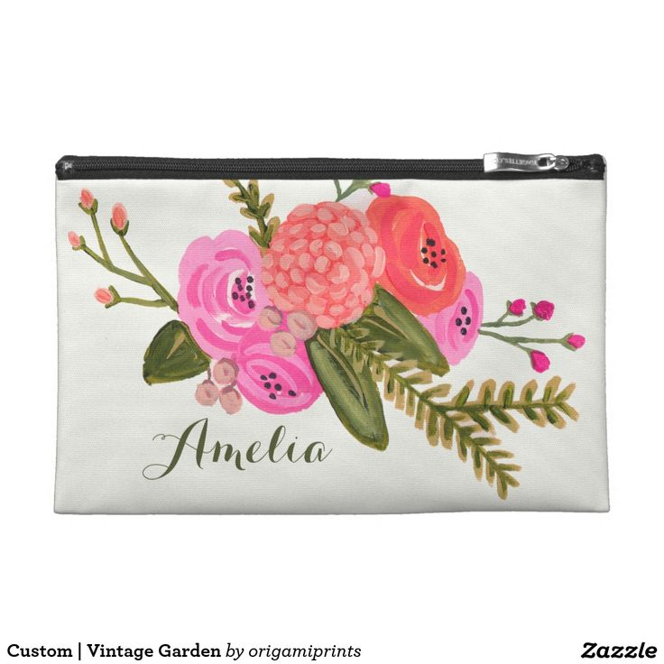 Custom | Vintage Garden Travel Accessory Bag Hand painted red and pink floral design by Shelby Allison. Perfect for a rustic spring time wedding! For matching invitations, reply cards, stickers and other items click on the link below to view the entire Vintage Garden Collection.