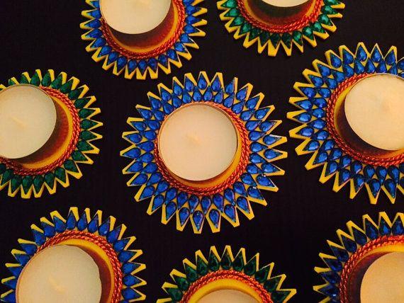 Tealight holder 'Diya' Candle holder blue green diya by CozMHappy
