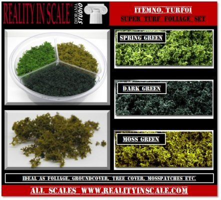 Set contains 3 different colours foliage/groundcover material. Ideal to use as groundcover, bush or tree foliage, moss patches, etc. Suitable for all scales.