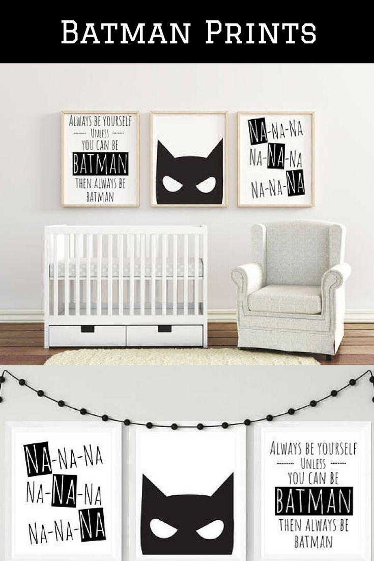 Cute Batman prints for kids room or nursery :) #batman #kids #prints #decor #kidsroom #nursery #ad