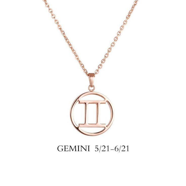 Gemini Zodiac Sign Necklace. Available in Rose Gold Plated, 18k Gold Plated, Stainless Steel, Black Plated. Chain Type: Link Chain Length: 45cm+5cm Pendant Size:1.6x1.6x0.3cm Material: Stainless Steel