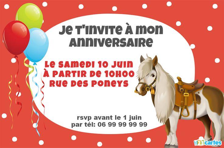 Invitation anniversaire du petit poney