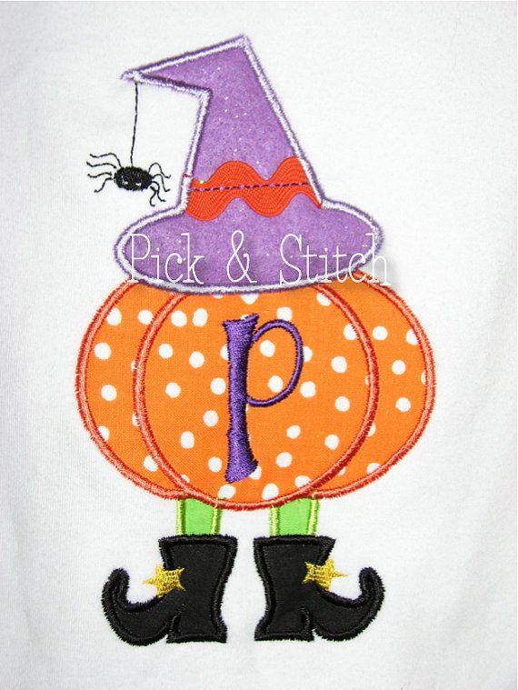 Witch Pumpkin Girls Halloween Applique Design by pickandstitch