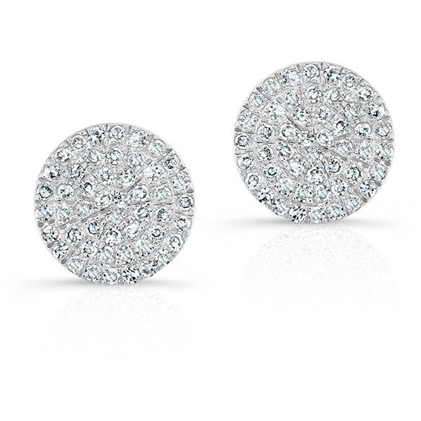 Anne Sisteron  14KT White Gold Diamond Medium Disc Stud Earrings ($640) ❤ liked on Polyvore featuring jewelry, earrings, accessories, white, diamond earrings, diamond jewellery, diamond jewelry, diamond earring jewelry and white gold earrings
