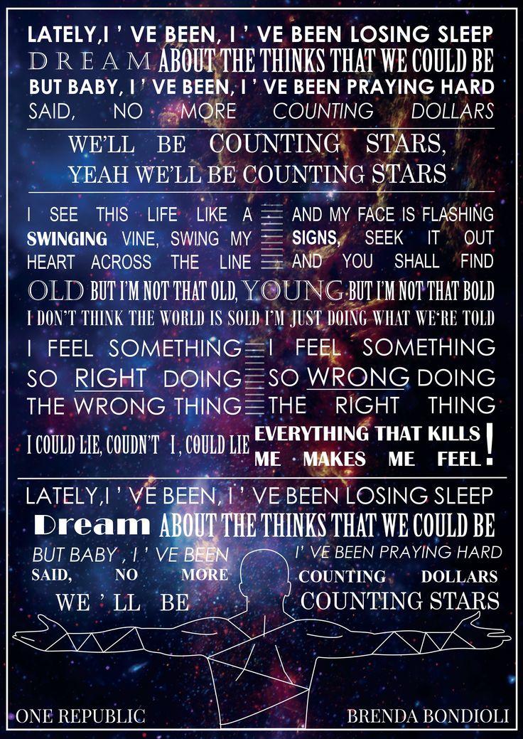 ONE REPUBLIC - Counting Stars ☆ #onerepublic #CountingStars #Stars  #Native #graphic #conceptual #art #ryan #tedder #ryantedder #music #Lyrics