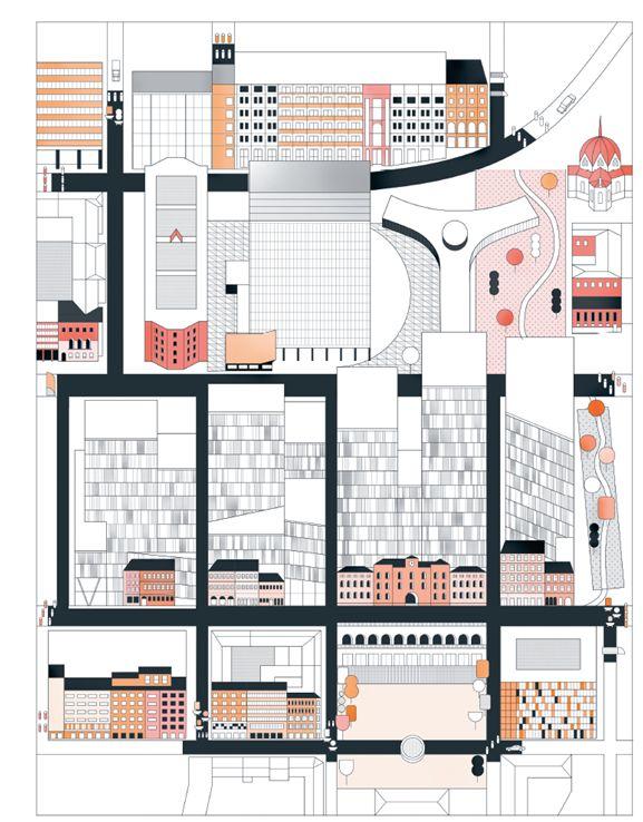 Nils Marstein, Marius Grønning og Ellen de Vibe er kritiske til hvor langt ned i sidegatene mot Torggata perimetersikringene er plassert. De tre er enige om at sikkerhetssonen er for stor, og at livet i Møllergata slik vi kjenner det, kommer til å endres. Illustrasjon: Eriksen Skajaa Arkitekter