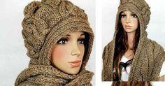 Como tejer una bufanda con capucha en dos agujas o palitos